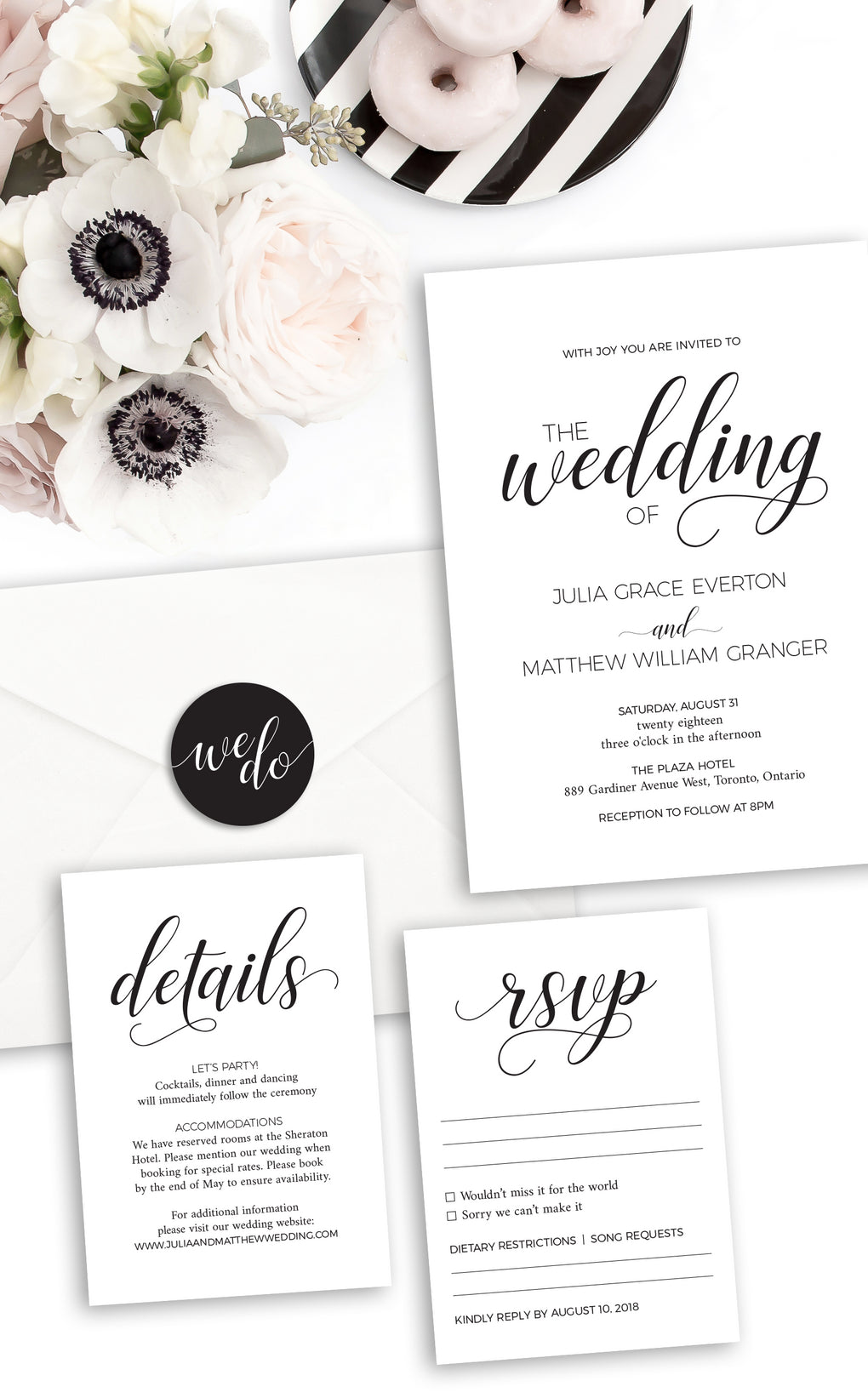 Black and white modern wedding invitation suite