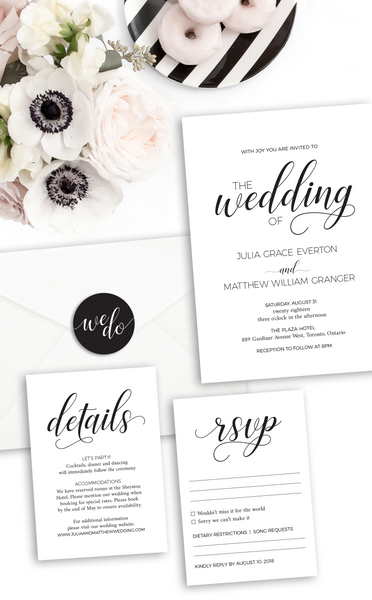 Modern Black and White Wedding Invitation Set