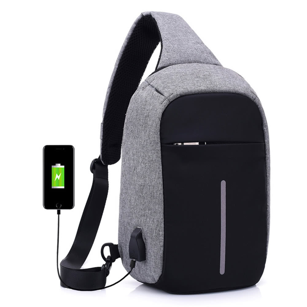 8e20ec088a Anti-theft Sling Shoulder Bag with External USB Charge Crossbody Chest Bags  Backpack for Cycling