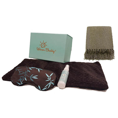 2012A - Kanata Bouclé Fringed Throw and Warm Buddy Sleep Therapy Gift Set Bundle