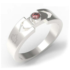2502A - Birks Business Collection Sterling Silver Garnet Ring for Men