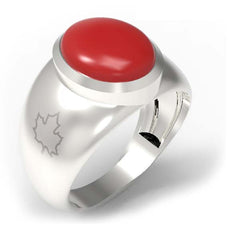 2502B - Birks Business Collection Sterling Silver Coral Ring for Men