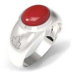 2502C - Birks Business Collection Sterling Silver Coral Ring for Men