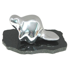2509B - Beaver on Granite Base Sculpture