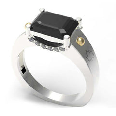 3001C - Birks Business Collection Sterling Silver and 10 Karat Gold White Topaz and Onyx Ring for Ladies