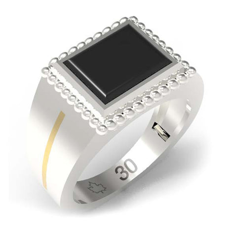 3002A - Birks Business Collection Sterling Silver and 10 Karat Onyx Ring for Men