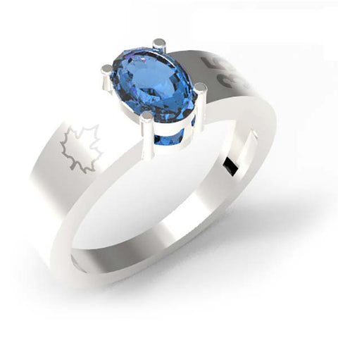 3501B - Birks Business Collection Sterling Silver Blue Topaz Ring for Ladies