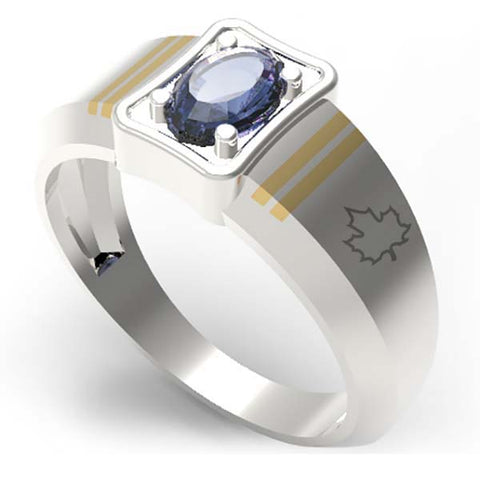 4001B - Birks Business Collection Sterling Silver and 10 Karat Gold Sapphire Ring for Ladies