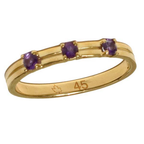 4501B - Birks Business Collection 10 Karat Gold Ring with Amethysts for Ladies