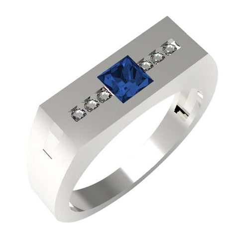 C2502 - Birks Business Collection Sterling Silver White Topaz and Sapphire Ring for Men