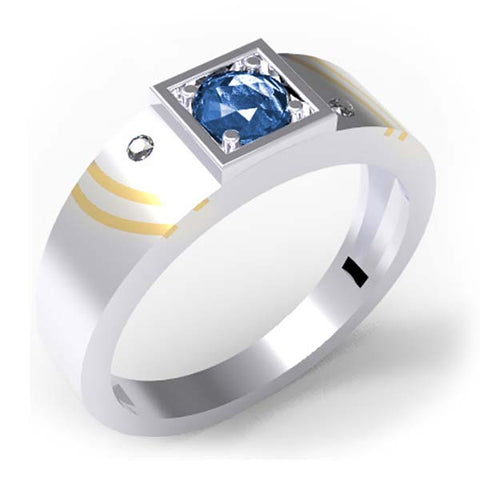 CRT10-192 - Birks Business Collection Sterling Silver and 14 Karat Gold Sapphire and White Topaz Ring for Men