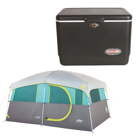 D3504 - Coleman Tenaya Lighted Fast Pitch™ Cabin and Coleman Cooler