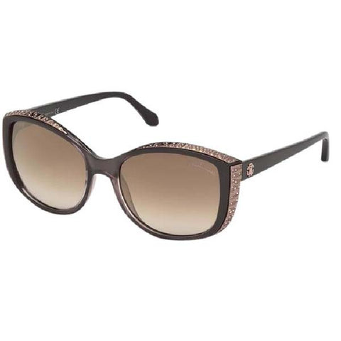 F4502 - Roberto Cavalli Yed Women's Cat Eye Sunglasses - Dark Brown/Brown Mirror