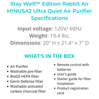 Load image into Gallery viewer, Stay Well™ Edition Rabbit Air MINUSA2 Ultra Quiet Air Purifier
