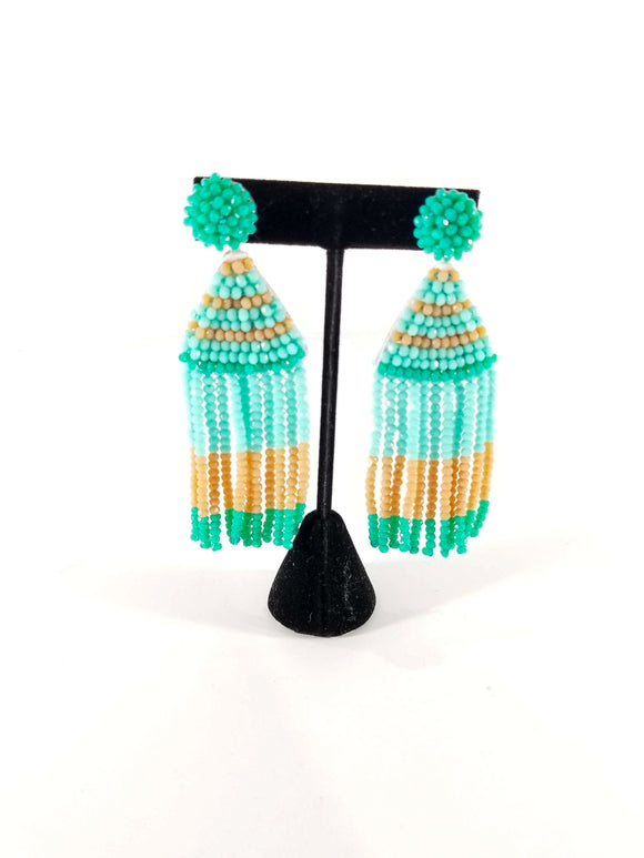 Sass With A Class Earrings-Mint/Brown