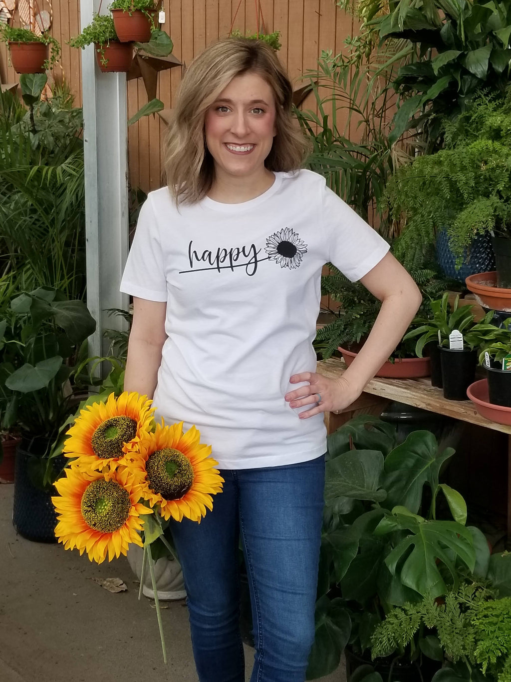 Happy Sunflower Graphic Tee In White