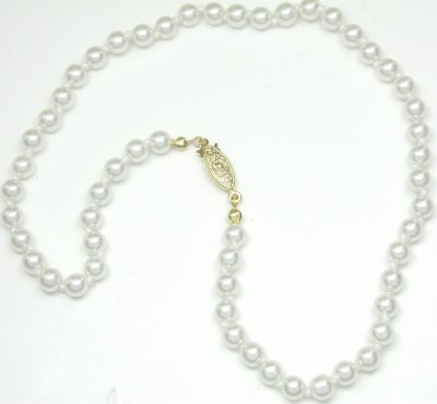 16″ 6mm Pearl Necklace In Cream/White