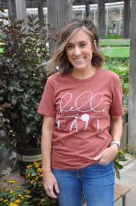 Hello Fall Graphic Tee In Heather Clay
