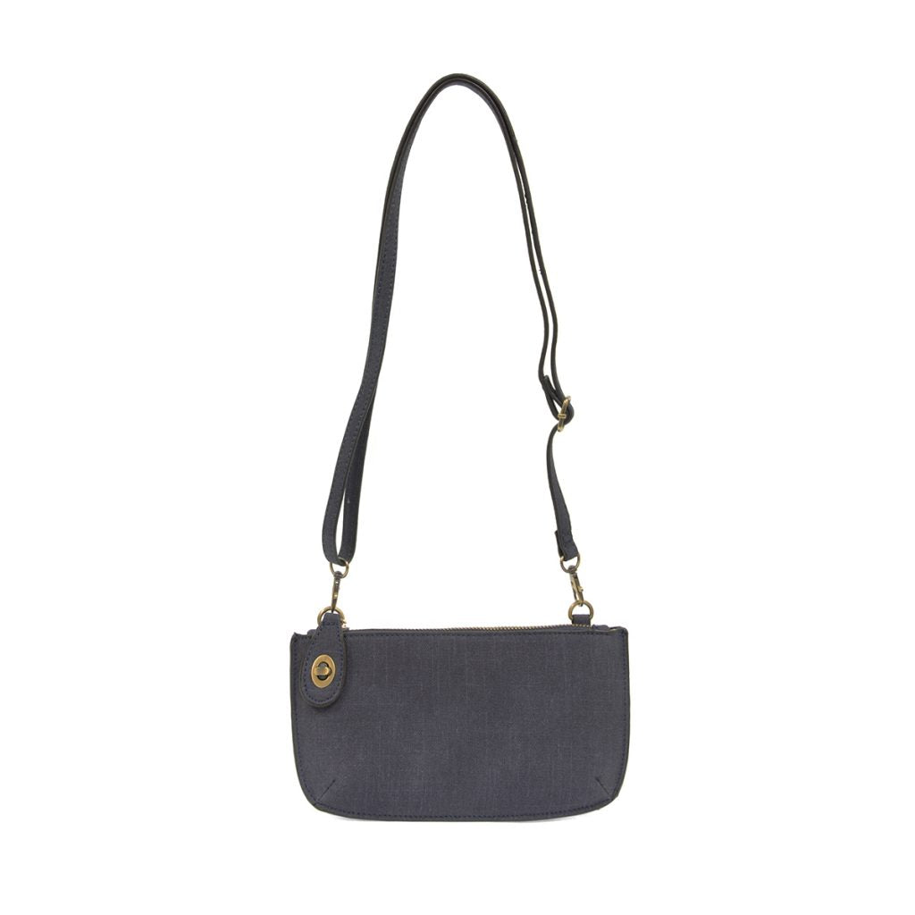 Faux Linen Crossbody Wristlet Clutch In Navy