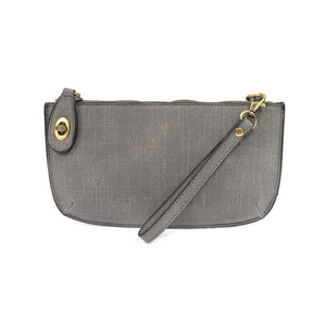 Faux Linen Crossbody Wristlet Clutch In Grey
