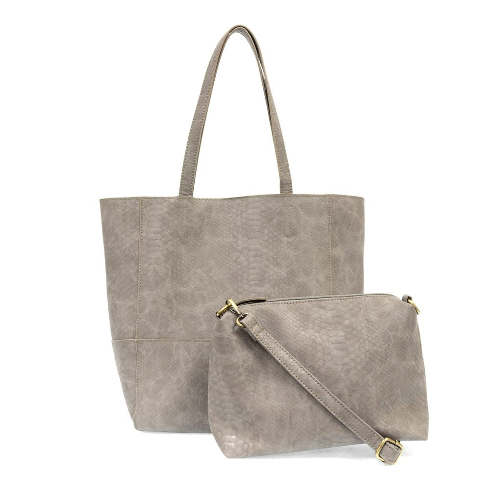 Avery Python Tote In Smoke Grey