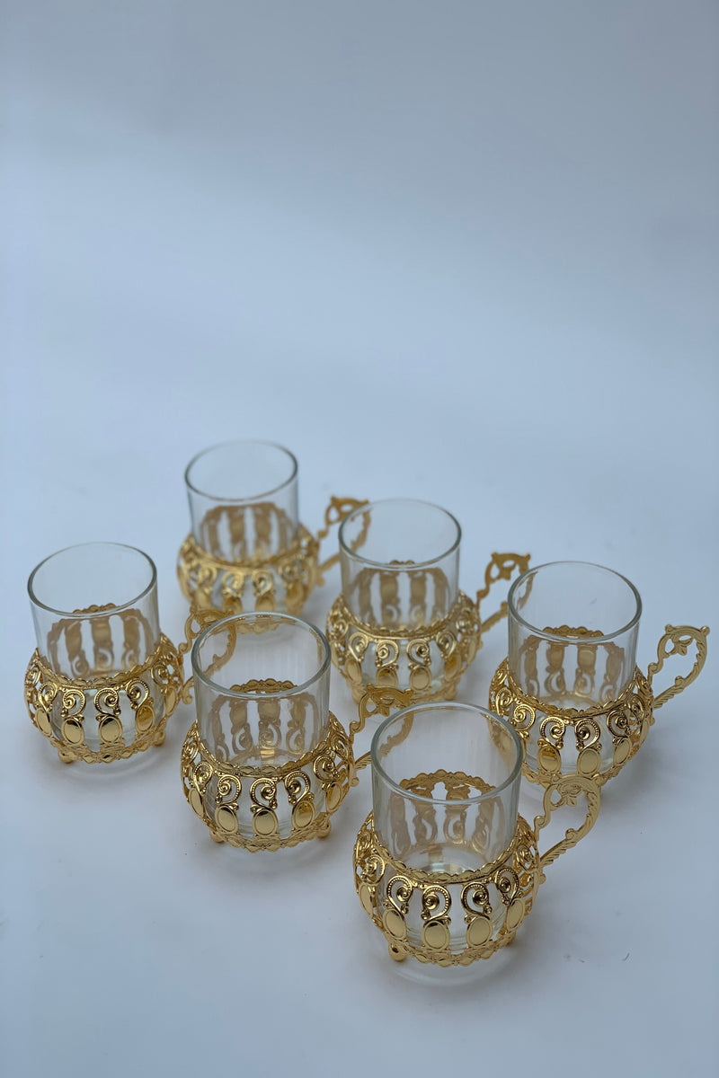 Gold Effect Metal and Glass Tea Cups