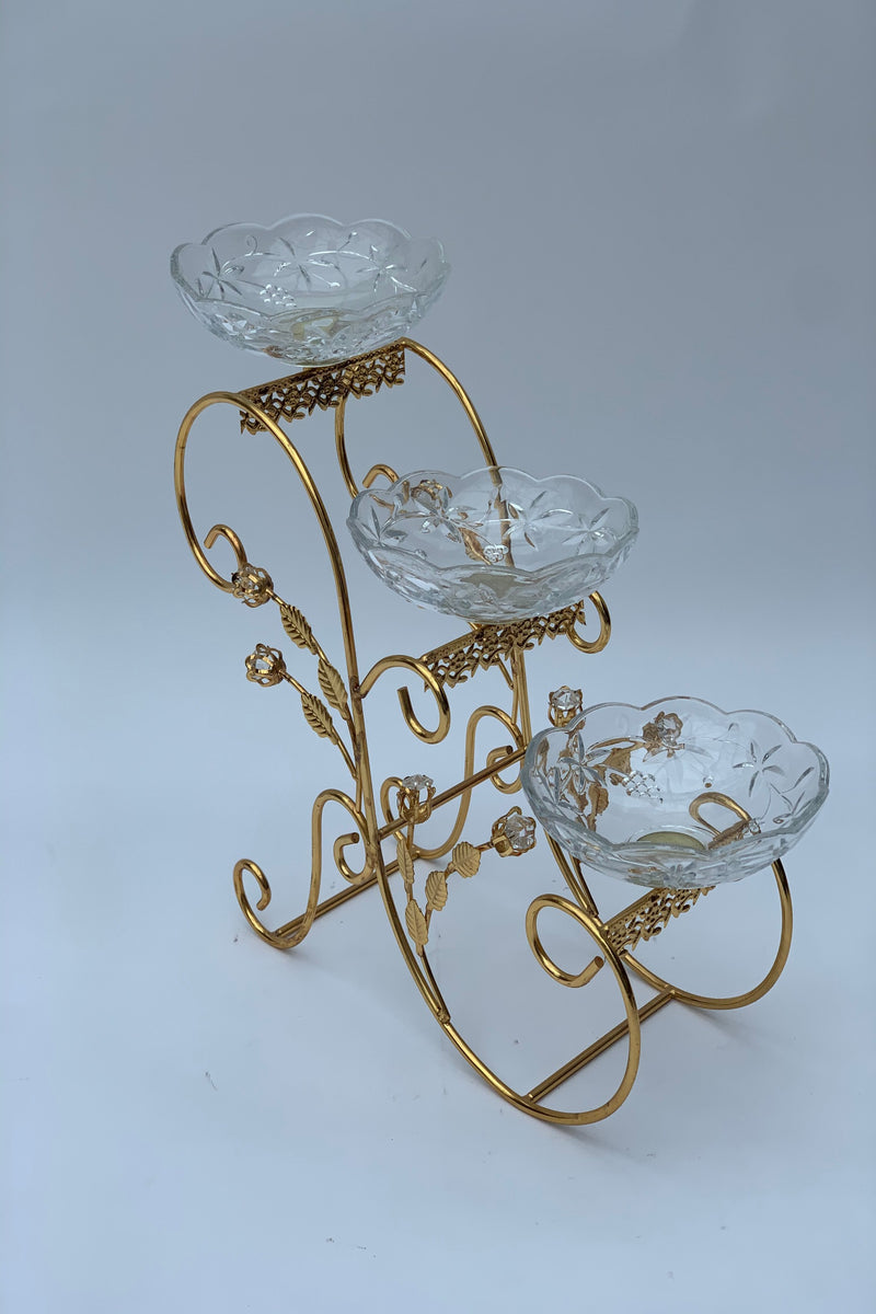 Gold Metal Decorative 3 tier Stand