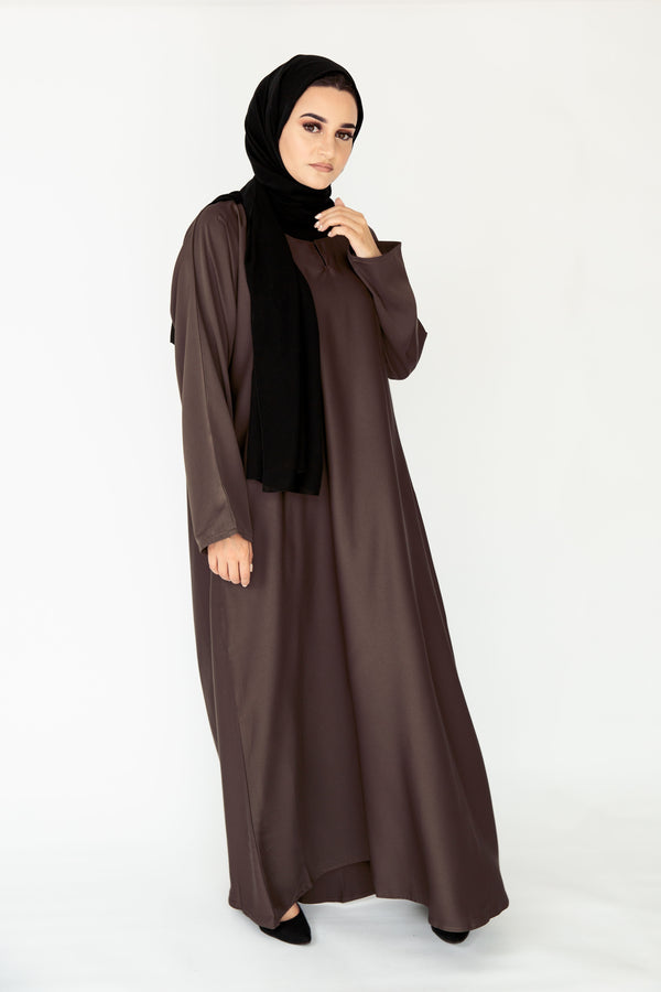 Brown Plain Closed Abaya
