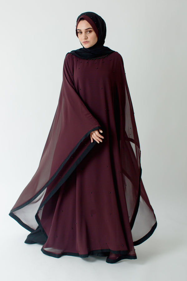 Burgundy Batwing Closed Abaya Online