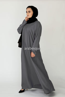 Dark Grey Plain Closed Abaya UK