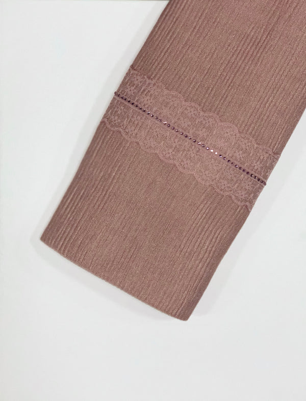 Dusty Pink Textured Jersey with Lace Hijab Online