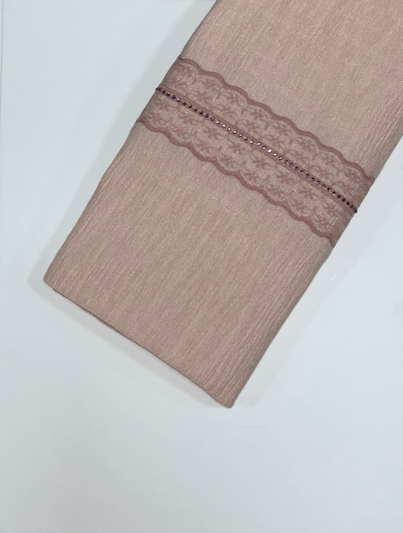 Light Peach Textured Jersey with Lace Hijab Online