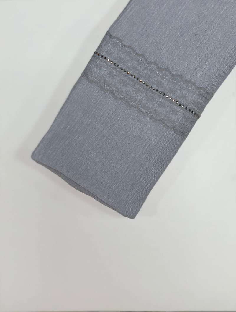 Grey Textured Jersey with Lace Hijab Online