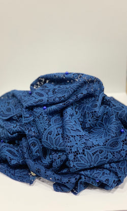Blue Leeloo Lace Hijab Online Hijab UK