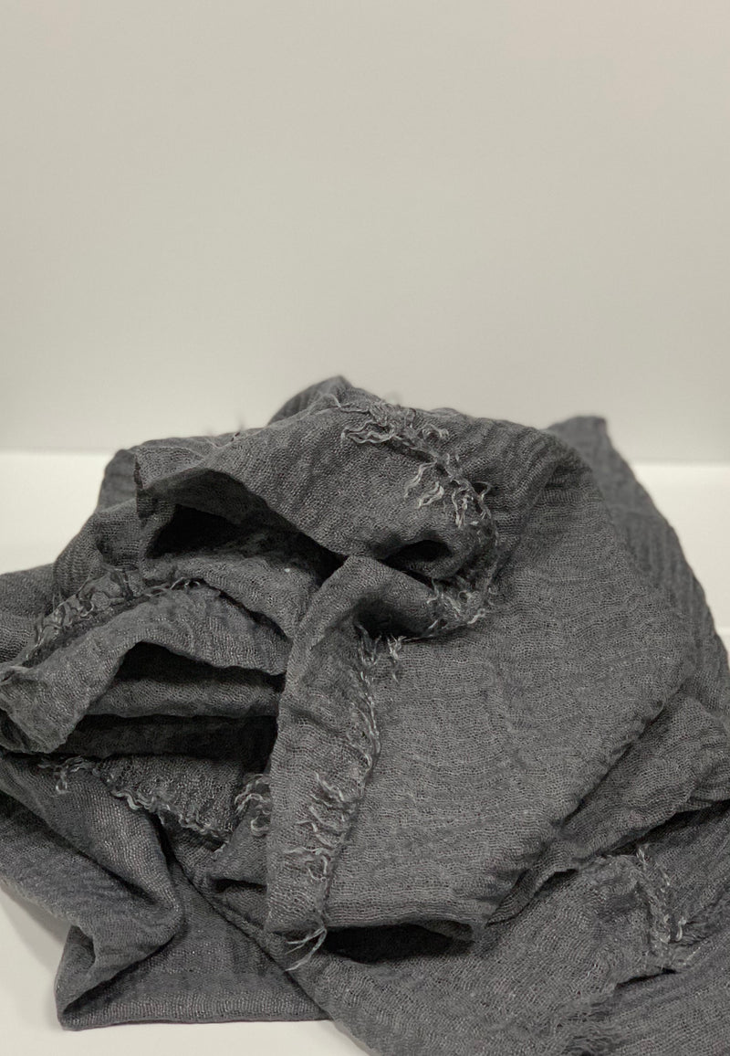 Dark Grey Long Crinkle Hijabs Online