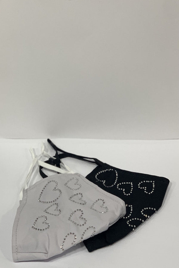 Diamante Heart Face Mask