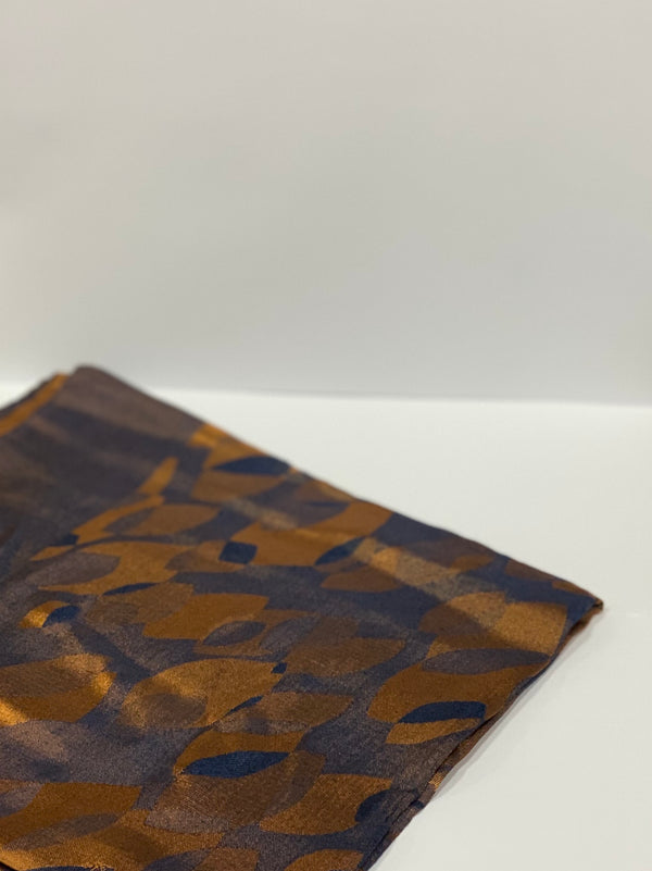 Bronze Jacquard Leaf Pattern Square Hijab UK