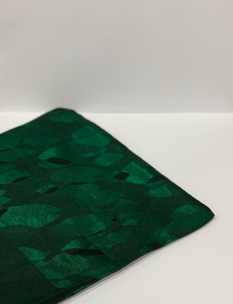 Dark Green Jacquard Leaf Pattern Square Hijab UK