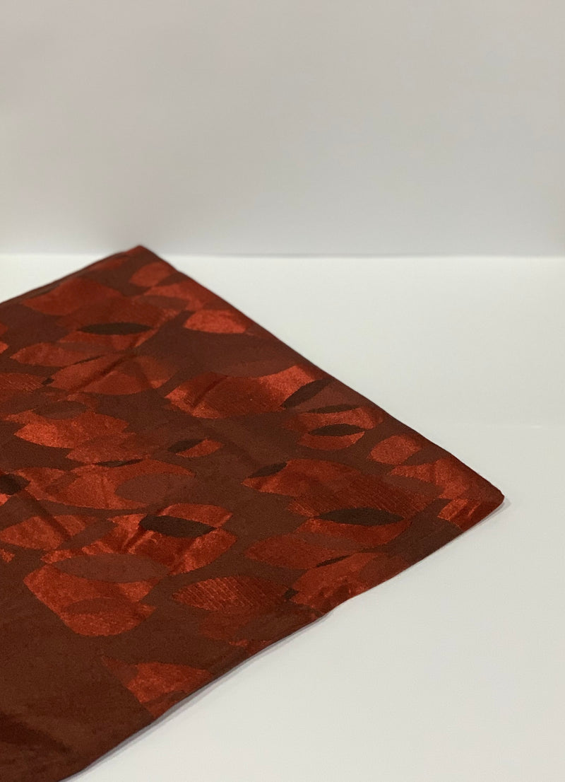 Brick Red Jacquard Leaf Pattern Square Hijab UK
