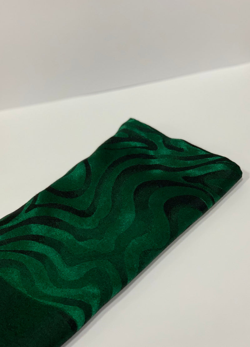 Dark Green Jacquard Swirl Pattern Square Hijab UK