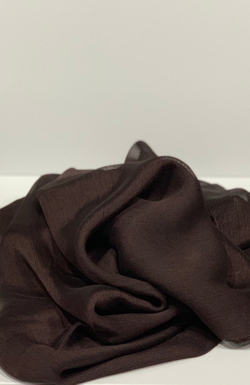 Brown Square Plain Crepon Hijab UK