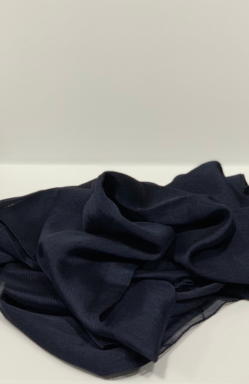 Navy Square Plain Crepon Hijab UK