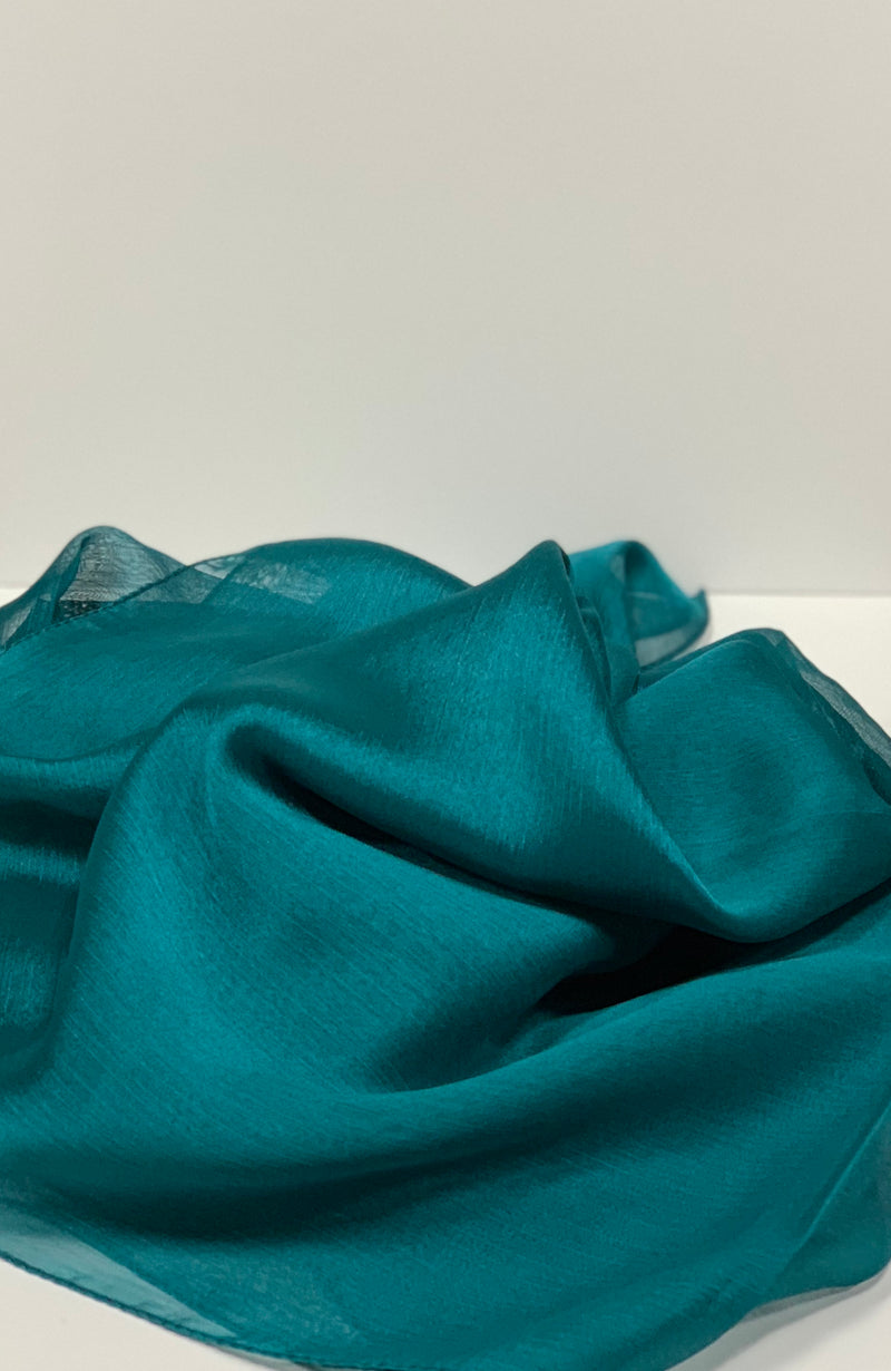 Turquoise Square Plain Crepon Hijab UK