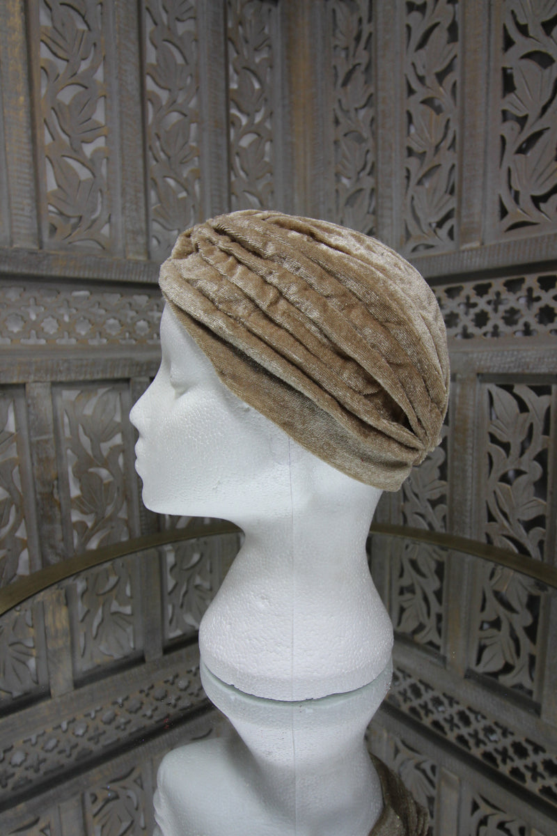 Beige Velvet Turban Islamic Clothing Online