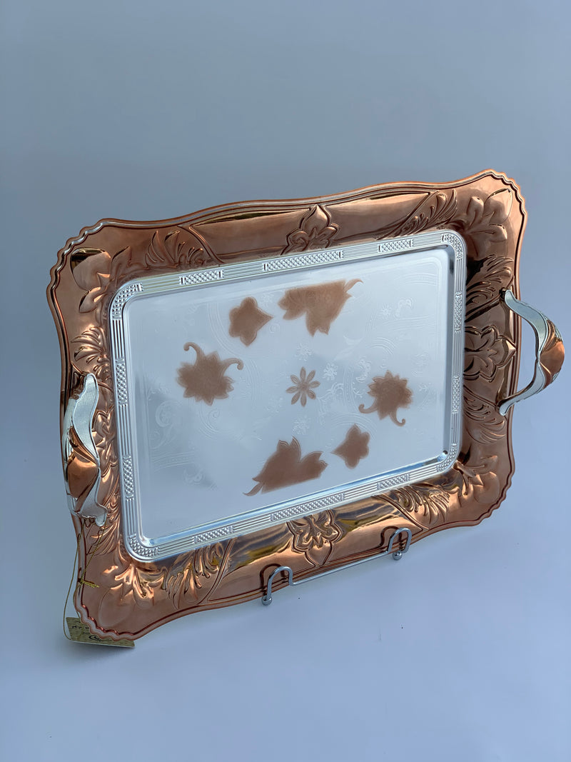 Set of 2- Rectangle Rose Gold/Silver Effect Polished Trays (26x36 cm)+(34x46 cm)