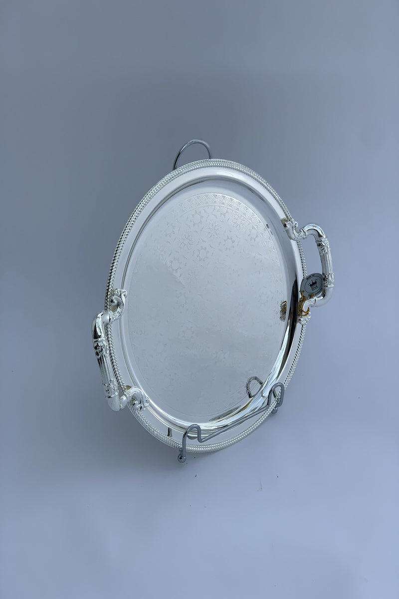29 cm Round Mirrored Silver Effect Polished Tray