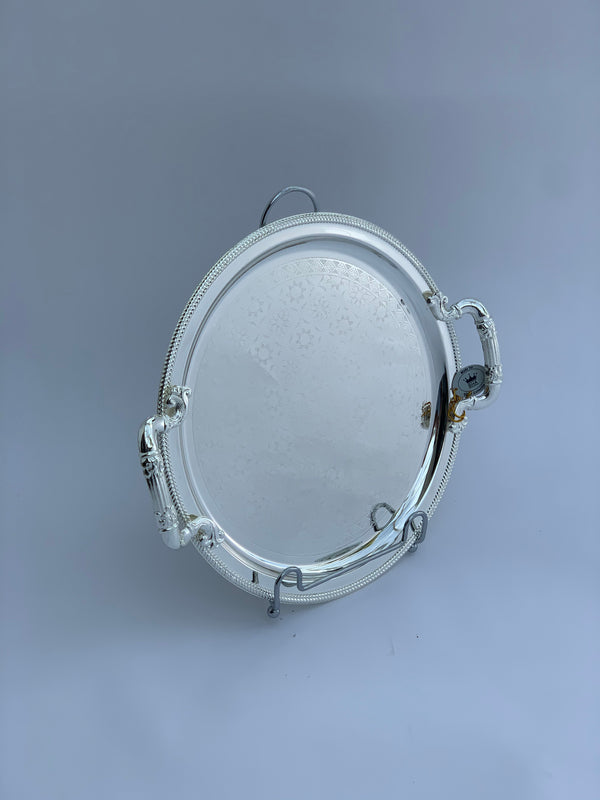 41 cm Round Mirrored Silver Effect Polished Tray