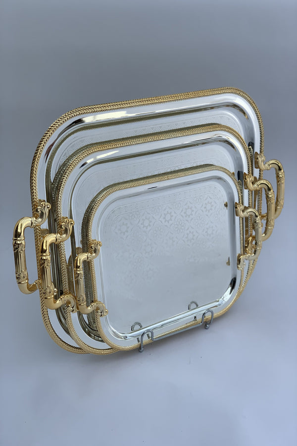 Set of 3 - Rectangle Silver/Gold Effect Polished Trays (26x32.5 cm)+(32.5x40.5 cm)+(38x47.5 cm)
