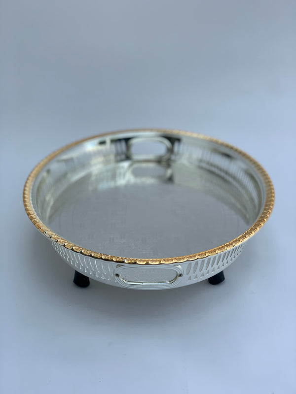 Silver Effect Polished footed Oval Tray  (32 cm x 42.5 cm)