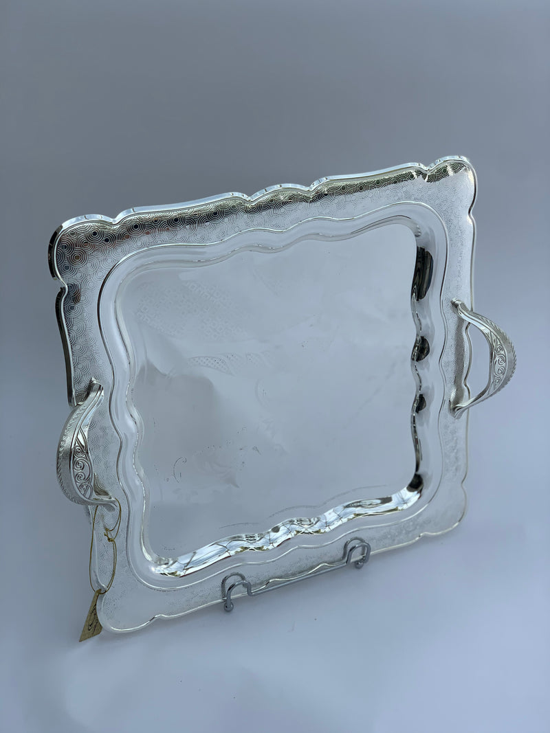 Silver Effect Polished 40 cm x 40 cm Square Tray